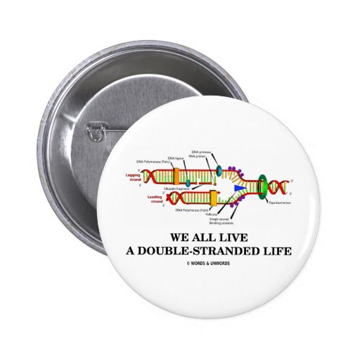We All Live A Double-Stranded Life (DNA Humor) Buttons