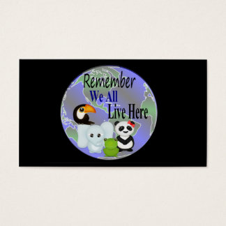 We All Live Here Animals Of The World Business Card