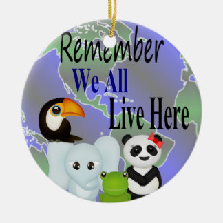 We All Live Here Animals Of The World Ceramic Ornament