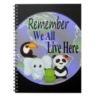 We All Live Here Animals Of The World Notebook