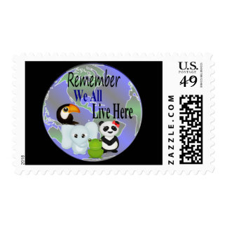 We All Live Here Animals Of The World Postage Stamp
