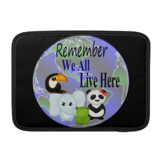 We All Live Here Animals Of The World Sleeve For MacBook Air