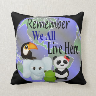 We All Live Here Animals Of The World Throw Pillow