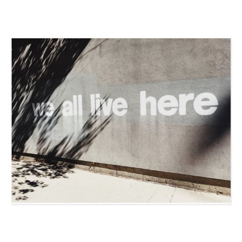 We All Live Here  Chicago  STREET ART Postcard