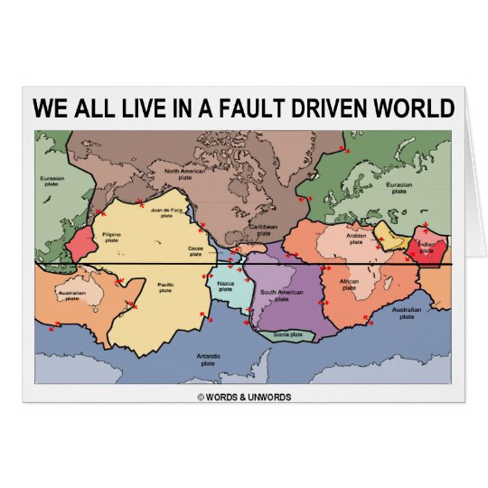 We All Live In A Fault Driven World (Geology Map) Card