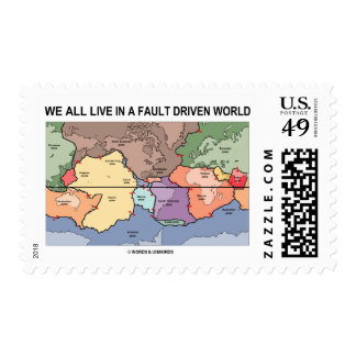 We All Live In A Fault Driven World (Geology Map) Postage Stamp