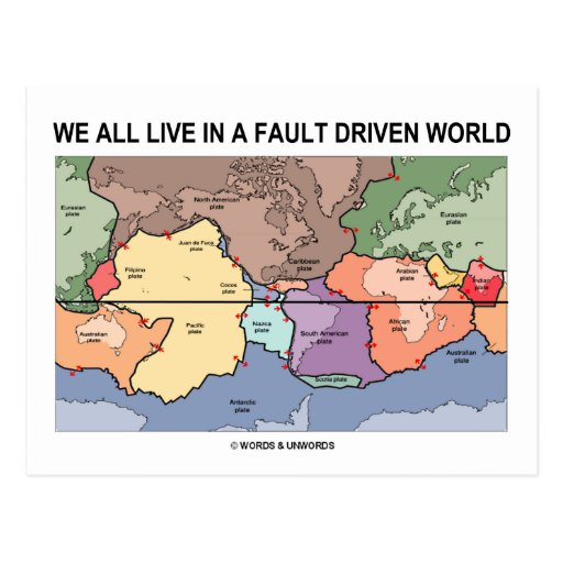 We All Live In A Fault Driven World (Geology Map) Postcard