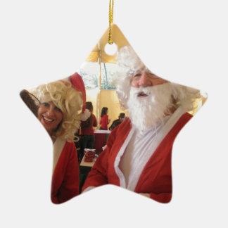 WE ALL NEED LOVE SANTA Hohoho!.jpg Double-Sided Star Ceramic Christmas Ornament