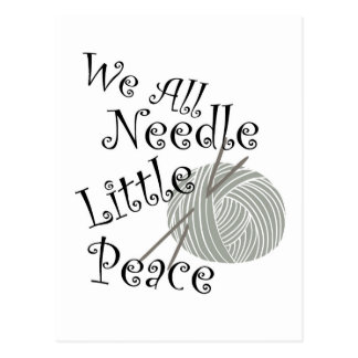 We All Needle Littel Peace Knitting Art Postcard