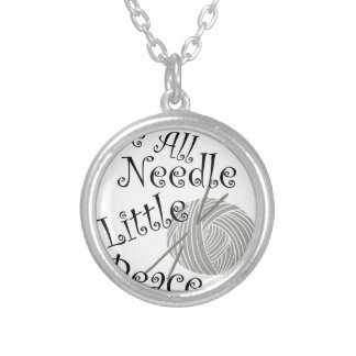 We All Needle Littel Peace Knitting Art Silver Plated Necklace