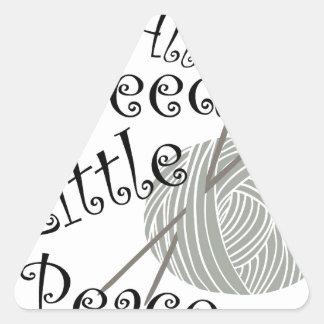 We All Needle Littel Peace Knitting Art Triangle Sticker