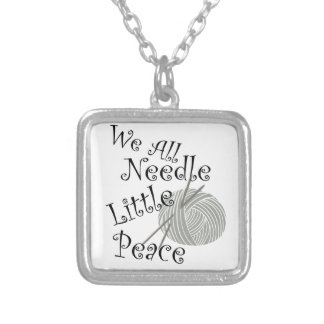 We All Needle Little Peace Zen Knitting Silver Plated Necklace