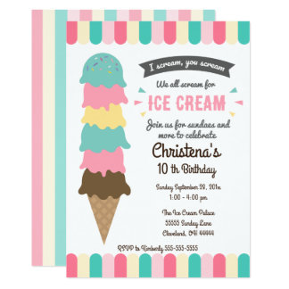 We All Scream Ice Cream Birthday Party Invitation