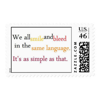 we all smile and bleed in the same language postage stamps