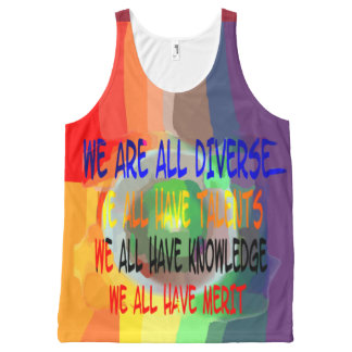 We Are All Diverse All-Over Printed Unisex Tank, L All-Over-Print Tank Top