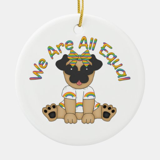 We Are All Equal Pug Tees, Gifts - Pastel Rainbow Ornaments