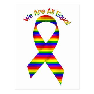 We Are All Equal Rainbow Pride Awareness Ribbon Postcard