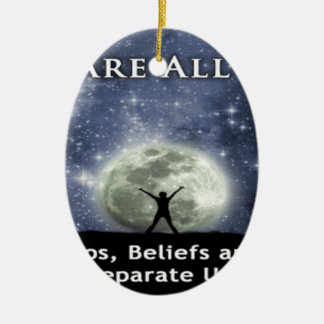 we are all one. Double-Sided oval ceramic christmas ornament