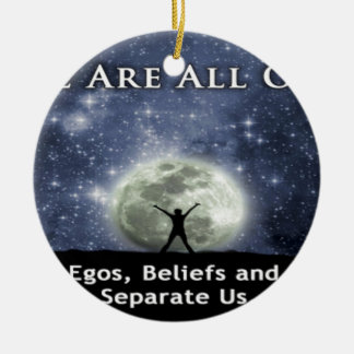 we are all one. Double-Sided ceramic round christmas ornament