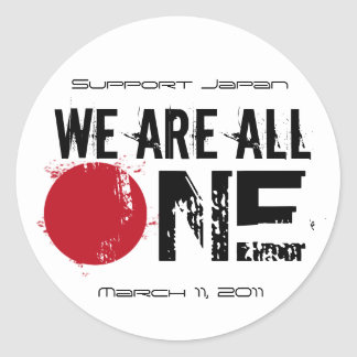 We Are All One - Support Japan Classic Round Sticker