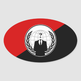 We Are Anonymous Anarchist Flag Oval Sticker