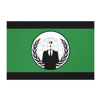 We Are Anonymous Green and Black Flag Canvas Print