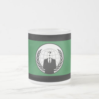 We Are Anonymous Green and Black Flag Frosted Glass Coffee Mug