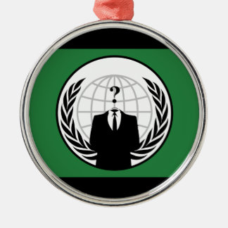 We Are Anonymous Green and Black Flag Metal Ornament