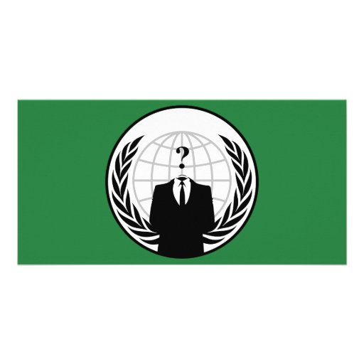 We Are Anonymous Green and Black Flag Photo Card