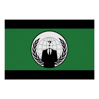 We Are Anonymous Green and Black Flag Poster