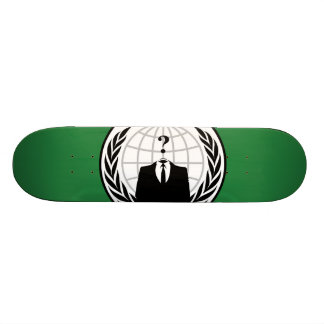 We Are Anonymous Green and Black Flag Skateboard Deck