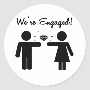 we are engaged stickers zazzle