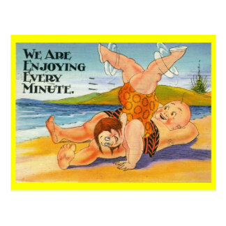 We Are Enjoying Every Minute Vacation Vintage Post Cards