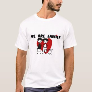 We Are Family - Gay themed two men and cat T-Shirt