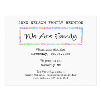 We Are Family Reunion or Party Save the Date Postcard