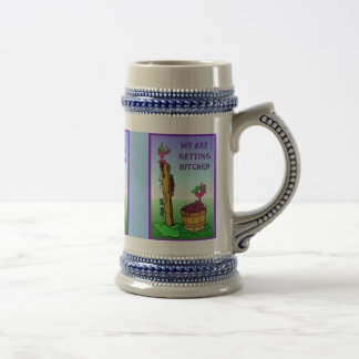 We are getting hitched beer stein