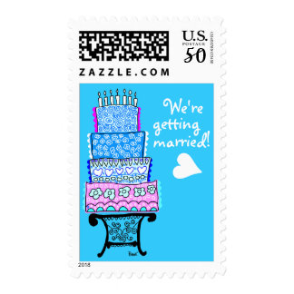 We Are Getting Merried Wedding Cake Blue Postage