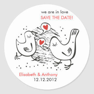 we are in love STD with cute birds Classic Round Sticker