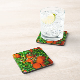 We Are Like Peas and Carrots Drink Coaster