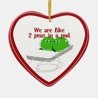 We are Like Two Peas in a Pod Double-Sided Heart Ceramic Christmas Ornament