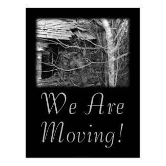 We Are Moving. Old cottage and Tree. Postcard