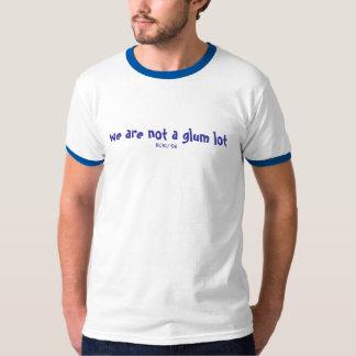we are not a glum lot, blue print on blue/white ri T-Shirt