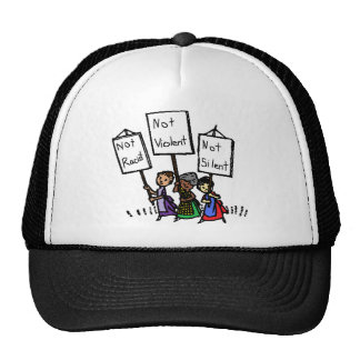 We are not racist, violent, or silent! mesh hat