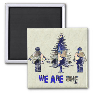 We Are One 2 Inch Square Magnet