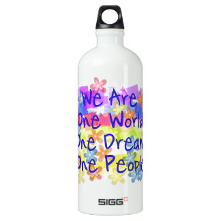 We Are One People Aluminum Water Bottle
