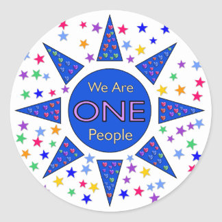 We Are One People Classic Round Sticker
