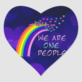 We Are One People Heart Sticker
