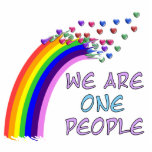 """We Are One Statuette<br><div class=""""desc"""">Everywhere we turn these days there&#39;s someone spewing hatred and division. It&#39;s time to get a more positive message out there with this &quot;We Are One People&quot; rainbow design.</div>"""