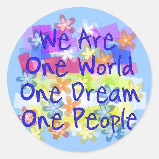 We Are One World Classic Round Sticker