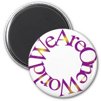 We Are One World (Purple) 2 Inch Round Magnet